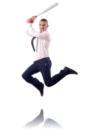 Jumping businessman with baseball bat photo
