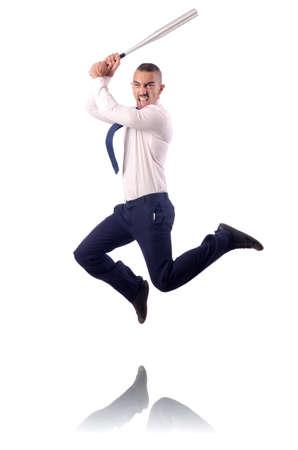 Jumping businessman with baseball bat Stock Photo - 19032434