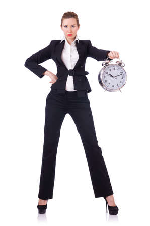 Woman businesswoman with giant clock photo