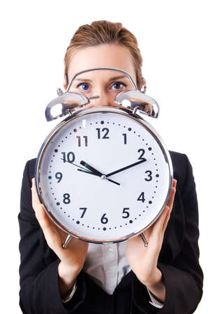 Woman businesswoman with giant clock Stock Photo - 19032481