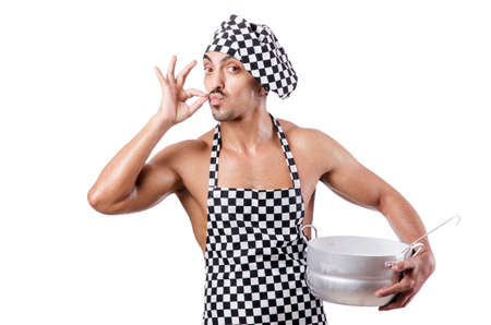 Sexy male cook isolated on the white photo