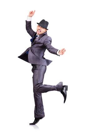 gente bailando: Dancing empresario aislado en blanco Foto de archivo