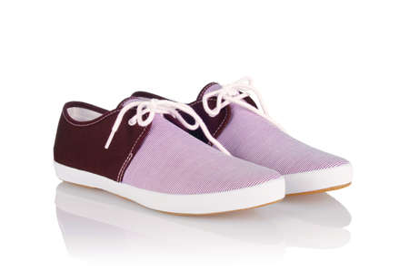 Sporty shoes in sport shoes concept on white Stock Photo - 19009215