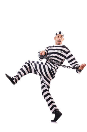 Convict criminal in striped uniform Stock Photo - 19032439