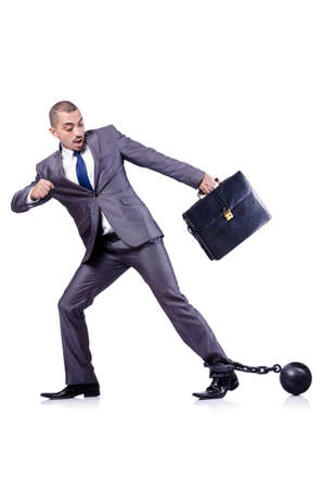 Businessman with shackles on white Stock Photo - 19032449