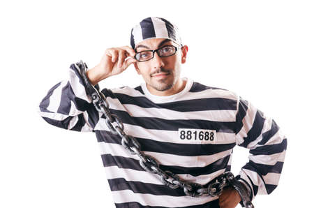 Convict criminal in striped uniform Stock Photo - 19032482