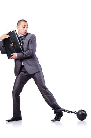 Businessman with shackles on white Stock Photo - 19032448