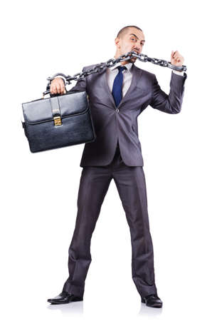 Businessman with shackles on white Stock Photo - 19032470