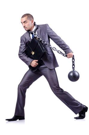 ceppi: Uomo d'affari con catene su bianco Archivio Fotografico