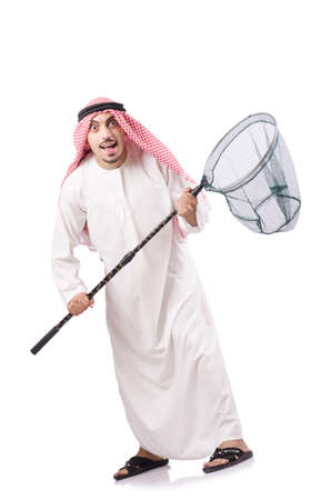 Arab businessman with catching net on white Stock Photo - 19028934