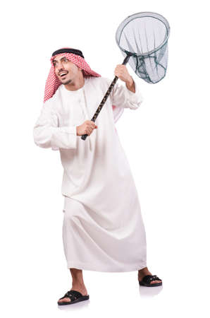 Arab businessman with catching net on white Stock Photo - 19028929