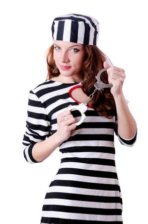 Convict criminal in striped uniform Stock Photo