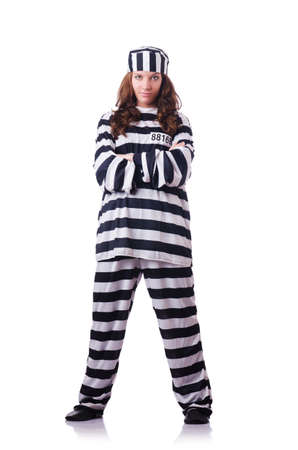 Convict criminal in striped uniform Stock Photo - 19028885