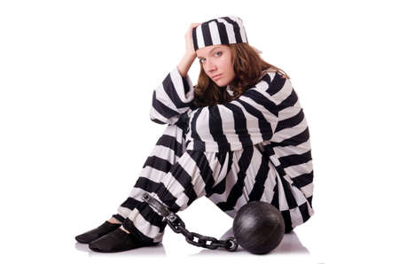 arresting: Prisoner in striped uniform on white Stock Photo