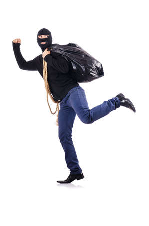 Burglar wearing balaclava isolated on white Stock Photo - 19028874