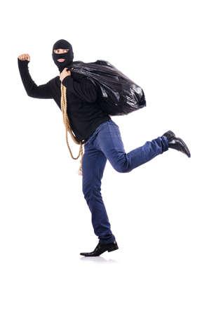 Burglar wearing balaclava isolated on white Stock Photo - 19028874