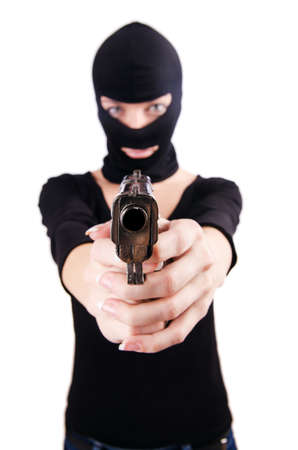 Criminal with gun isolated on white Stock Photo - 19028932