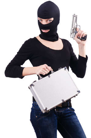 Criminal with gun isolated on white Stock Photo - 19029068