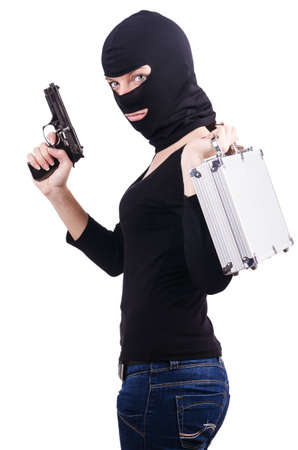 balaclava: Criminal with gun isolated on white