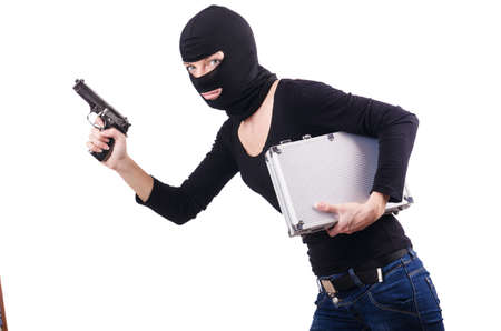 hijacker: Criminal with gun isolated on white