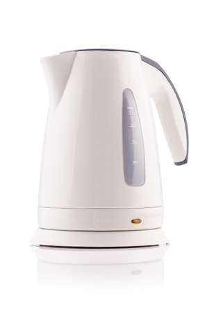 White electric kettle isolated Stock Photo - 18892448