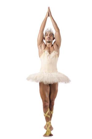 Man in ballet tutu isolated on white photo