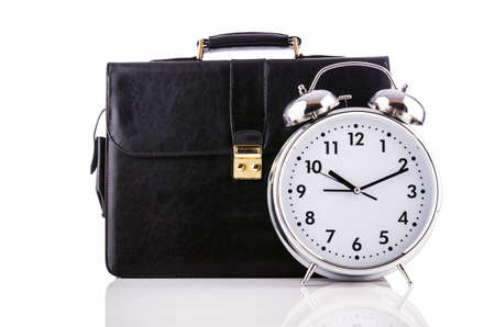 Alarm clock and briefcase isolated on white Stock Photo - 19039201