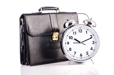 Alarm clock and briefcase isolated on white Stock Photo - 19039562