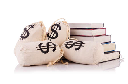 expensive: Concept of expensive education with books and money Stock Photo