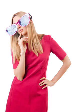 Tall model with giant sunglasses on white Stock Photo - 19292444