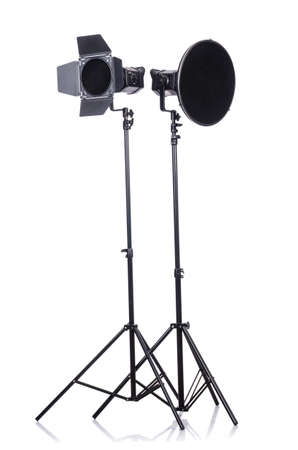 Studio light stand isolated on the white Stock Photo - 19036903