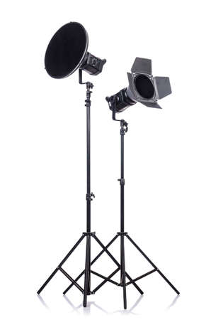 Studio light stand isolated on the white Stock Photo - 19036884