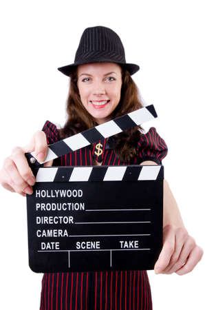 Woman gangster with movie board on white Stock Photo - 19292440