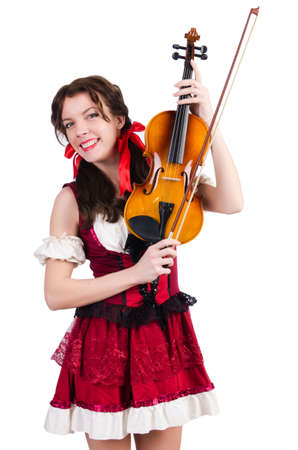 Young woman playing violin on white Stock Photo - 19292394