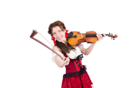 Woman with violin isolated on white Stock Photo - 19291861
