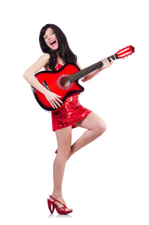 Young singer guitar on white Stock Photo - 19292243