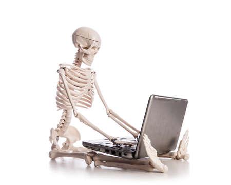 Skeleton working on laptop Stock Photo - 19038715