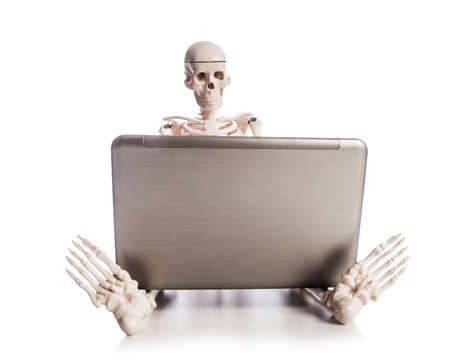 Skeleton working on laptop Stock Photo - 19039531
