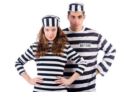 Pair of prisoners isolated on white Stock Photo - 19292441