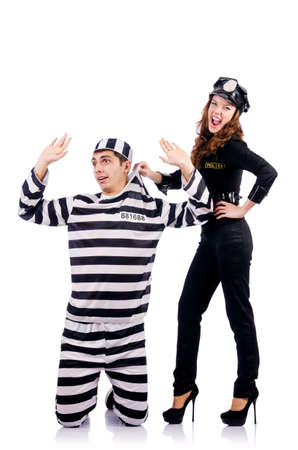 handcuffed: Politie en gevangenis gevangene op wit Stockfoto