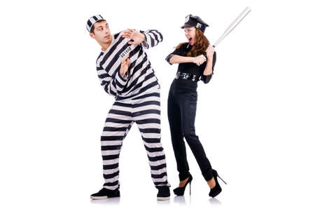arresting: Police and prison inmate on white Stock Photo