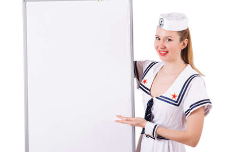 Woman sailor with blank board on white photo