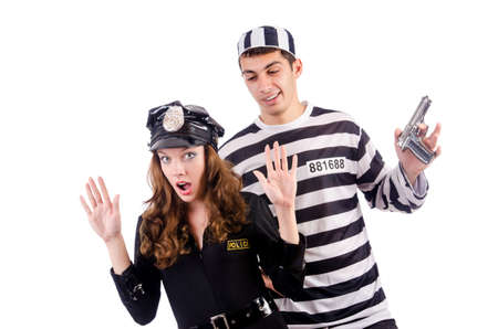 woman prison: Police and prison inmate on white Stock Photo
