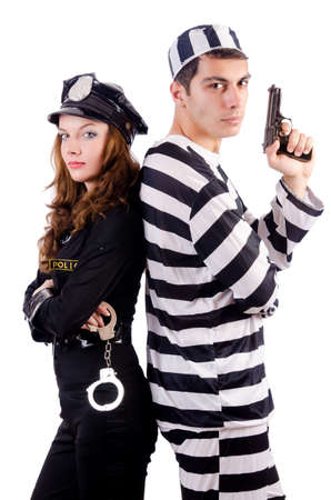 an inmate: Police and prison inmate on white Stock Photo