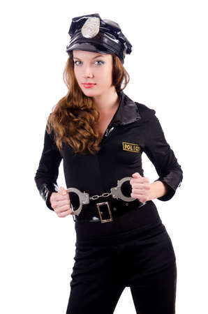 Woman police with handcuffs on white Stock Photo - 19292397