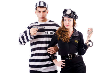 Police and prison inmate on white Stock Photo - 19292383