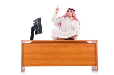 dishdasha: Arab man sitting at his desk