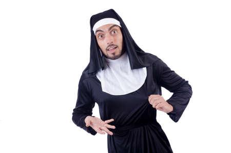 Male nun in funny religious concept photo