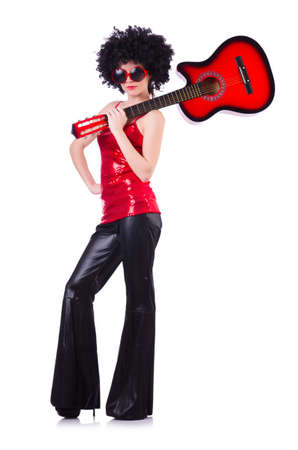 Young singer with afro cut and guitar Stock Photo - 19292269