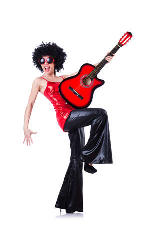 Young singer with afro cut and guitar Stock Photo - 19511359